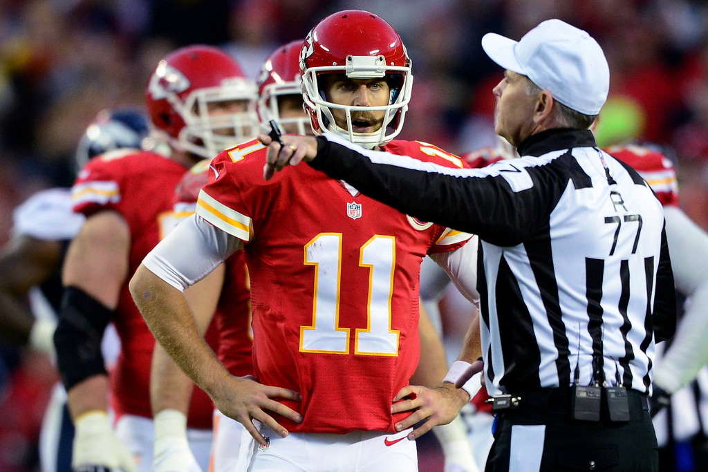 . Alex Smith (11) of the Kansas City Chiefs gets called for intentional grounding during the first half of the Broncos\' 35-28 win at Arrowhead Stadium.  (Photo by AAron Ontiveroz/The Denver Post)