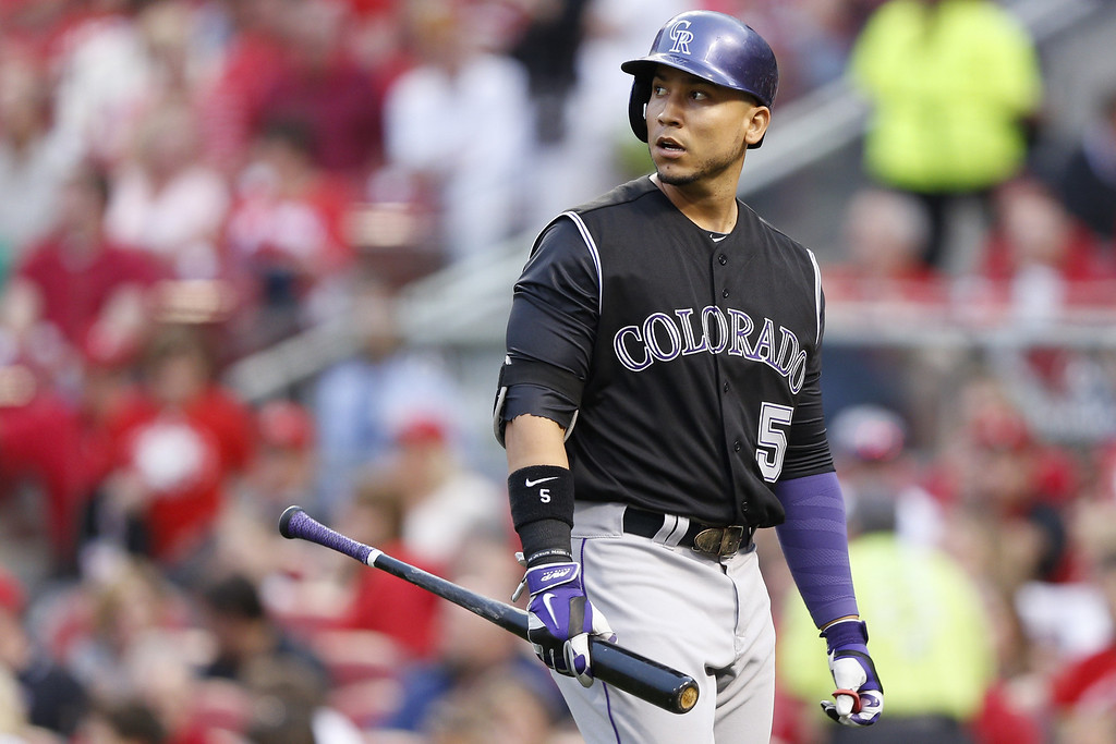 . CINCINNATI, OH - MAY 9: Carlos Gonzalez #5 of the Colorado Rockies reacts after striking out in the top of the fourth inning of the game against the Cincinnati Reds at Great American Ball Park on May 9, 2014 in Cincinnati, Ohio. (Photo by Joe Robbins/Getty Images)