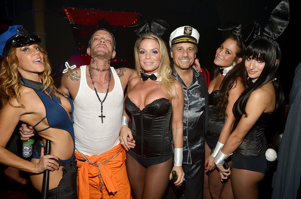 . Jamie McCarthy, Miyoshi Rheberg, Jennifer Mazur and Kevin Mazur attend Shutterfly Presents Heidi Klum\'s 14th Annual Halloween Party sponsored by SVEDKA Vodka and smartwater at Marquee on October 31, 2013 in New York City.  (Photo by Mike Coppola/Getty Images for Heidi Klum)