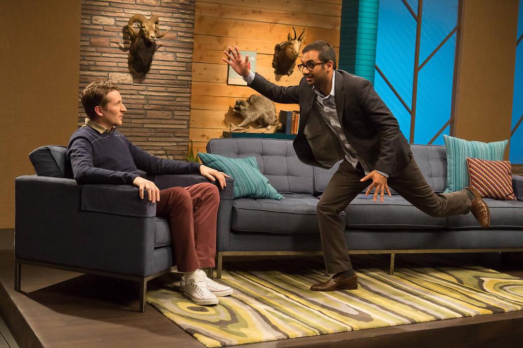 """. Scott Aukerman and Aziz Ansari in IFC\'s \""""Comedy Bang! Bang!\""""  (Photo by Chris Ragazzo/IFC)"""