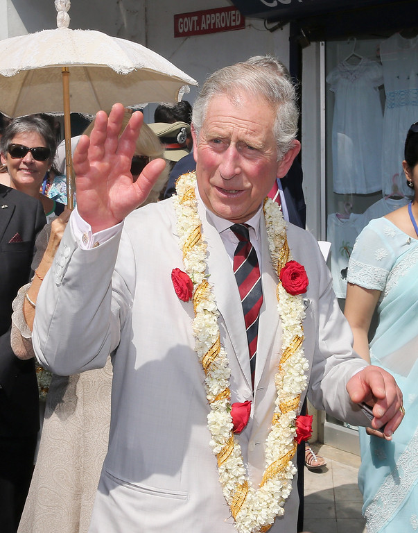 . Prince Charles, Prince of Wales is seen on his 65th birthday during a visit to Jewtown on day 9 of an official visit to India on November 14, 2013 in Kochi, India. This will be the Royal couple\'s third official visit to India together and their most extensive yet, which will see them spending nine days in India and afterwards visiting Sri Lanka in order to attend the 2013 Commonwealth Heads of Government Meeting.  (Photo by Chris Jackson/Getty Images)