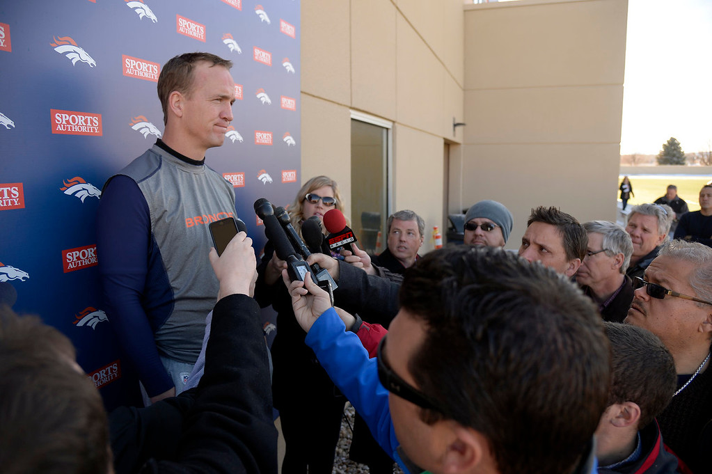 . Denver Broncos quarterback Peyton Manning (18) addresses the media during his press conference after practice January 2, 2014 at Dove Valley (Photo by John Leyba/The Denver Post)
