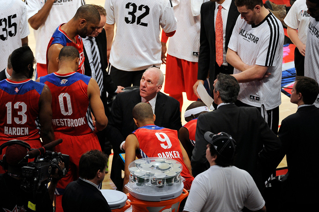 . West coach Gregg Popovich of the San Antonio Spurs talks to his team during the first half of the NBA All-Star basketball game Sunday, Feb. 17, 2013, in Houston. (AP Photo/Pat Sullivan)