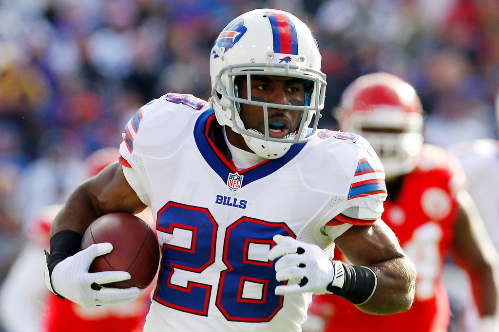 . Buffalo Bills running back C.J. Spiller (28) rushes against the Kansas City Chiefs during the second quarter of an NFL football game in Orchard Park, N.Y., Sunday, Nov. 3, 2013. (AP Photo/ Bill Wippert)