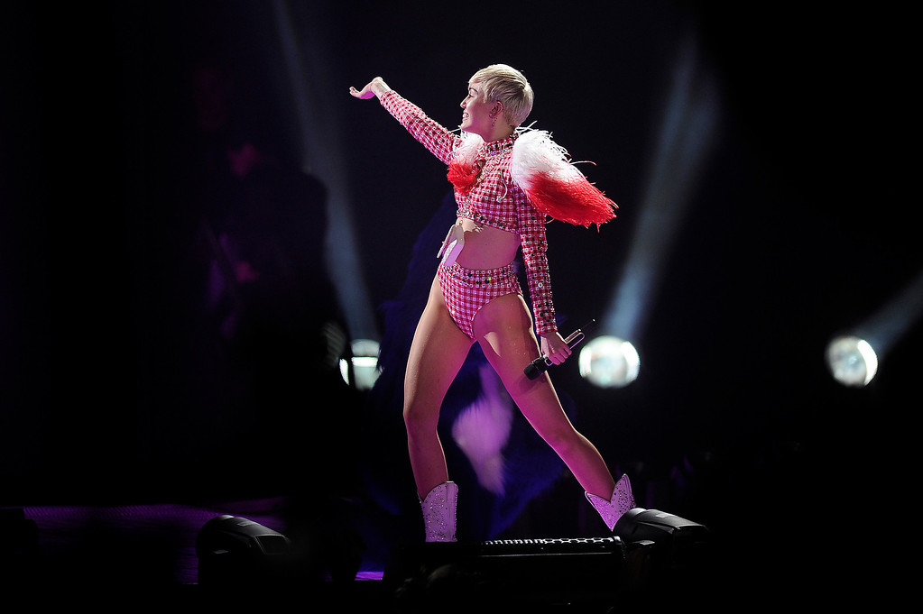 . Miley Cyrus performs at the Pepsi Center in Denver, Colorado during a stop on her Bangerz Tour on March 4, 2014. (Photo by Seth McConnell/The Denver Post)