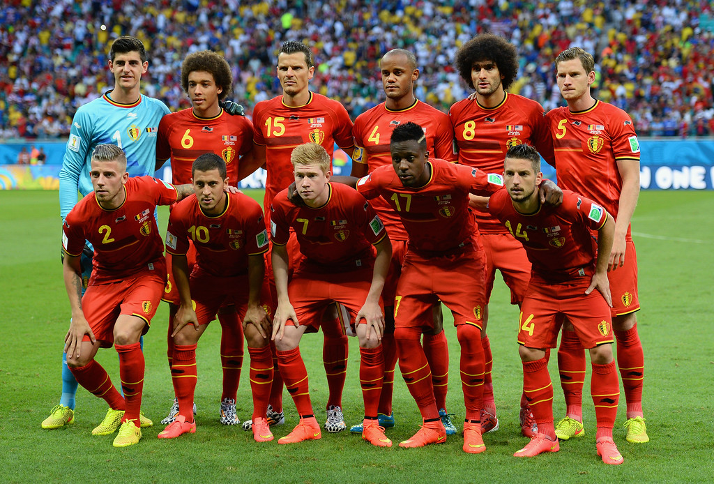 . Belgium pose for a team photo prior to the 2014 FIFA World Cup Brazil Round of 16 match between Belgium and the United States at Arena Fonte Nova on July 1, 2014 in Salvador, Brazil.  (Photo by Jamie McDonald/Getty Images)