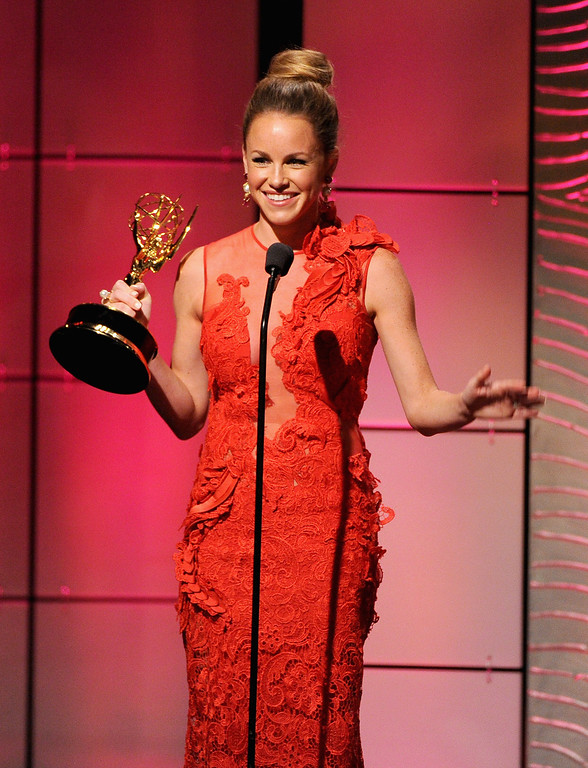 ". Actress Julie Marie Berman accepts the Outstanding Supporting Actress in a Drama Series award for ""General Hospital\"" onstage during The 40th Annual Daytime Emmy Awards at The Beverly Hilton Hotel on June 16, 2013 in Beverly Hills, California.  (Photo by Kevin Winter/Getty Images)"