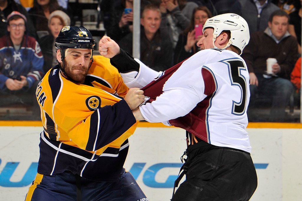 . NASHVILLE, TN - JANUARY 18:  Cody McLeod #55 of the Colorado Avalanche lands a punch in a fight against Eric Nystrom #24 of the Nashville Predators at Bridgestone Arena on January 18, 2014 in Nashville, Tennessee.  (Photo by Frederick Breedon/Getty Images)