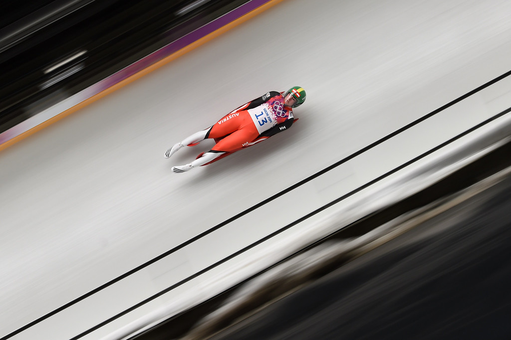 . Austria\'s Nina Reithmayer competes during the Women\'s Luge Singles run one at the Sliding Center Sanki during the Sochi Winter Olympics on February 10, 2014.  AFP PHOTO / LEON NEAL/AFP/Getty Images