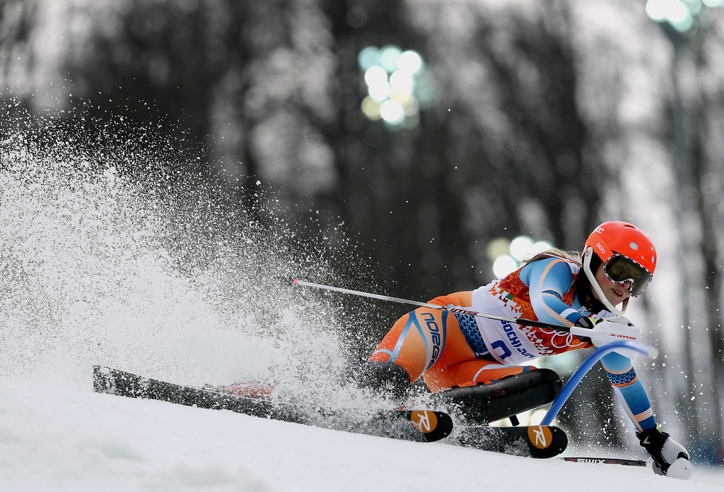 . Ragnhild Mowinckel of Norway in action during the Slalom portion of the Women\'s Super Combined race at the Rosa Khutor Alpine Center during the Sochi 2014 Olympic Games, Krasnaya Polyana, Russia, 10 February 2014.  EPA/KARL-JOSEF HILDENBRAND