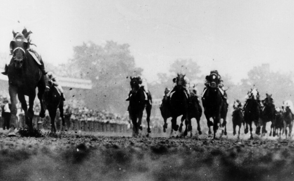 . 1946:  ASSAULT - Assault, far left, thunders down to the finish line to win the 72nd Kentucky Derby at Churchill Downs in Louisville, Ky., on May 4, 1946. Spy Song, with the white-marked forehead, finished second and Hampden, left from Spy Song, was third.  Assault went on to win the Triple Crown.  (AP Photo)