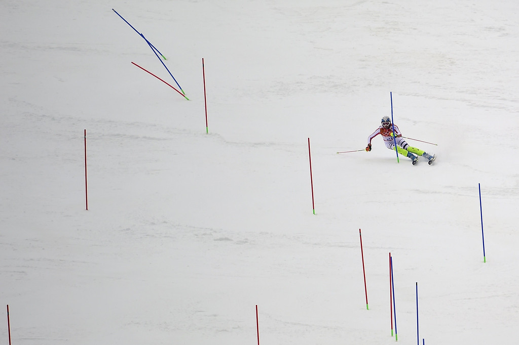 . Germany\'s Maria Hoefl-Riesch skis during the Women\'s Alpine Skiing Super Combined Slalom at the Rosa Khutor Alpine Center during the Sochi Winter Olympics on February 10, 2014.   OLIVIER MORIN/AFP/Getty Images