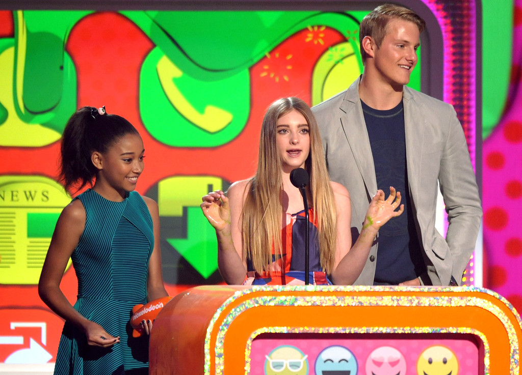 . From left, Amandla Stenberg, Willow Shields and Alexander Ludwig accept the award for favorite movie for �The Hunger Games� at the 26th annual Nickelodeon\'s Kids\' Choice Awards on Saturday, March 23, 2013, in Los Angeles. (Photo by John Shearer/Invision/AP)