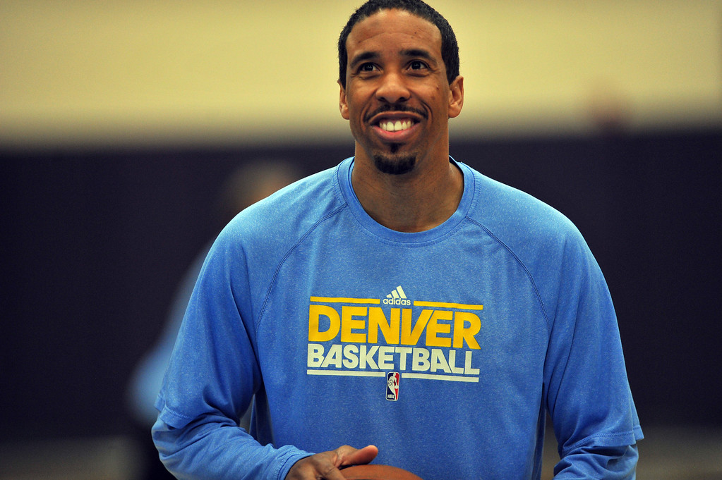 . DENVER, CO. - APRIL 18 : Andre Miller of Denver Nuggets is in the team practice for the 1st round of playoff game against Golden State Warriors at Pepsi Center. Denver. Denver, Colorado. April 18, 2013. (Photo By Hyoung Chang/The Denver Post)