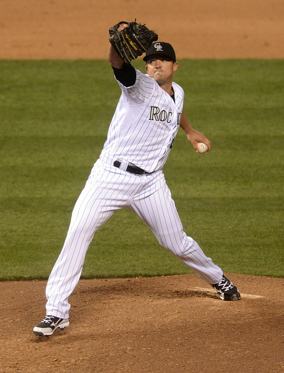 . DENVER, CO - APRIL 5:  Colorado pitcher Rex Brothers pitched in the eighth inning. The Colorado Rockies defeated the Arizona Diamondbacks 9-4 Saturday night, April 5, 2014 in Denver. (Photo by Karl Gehring/The Denver Post)