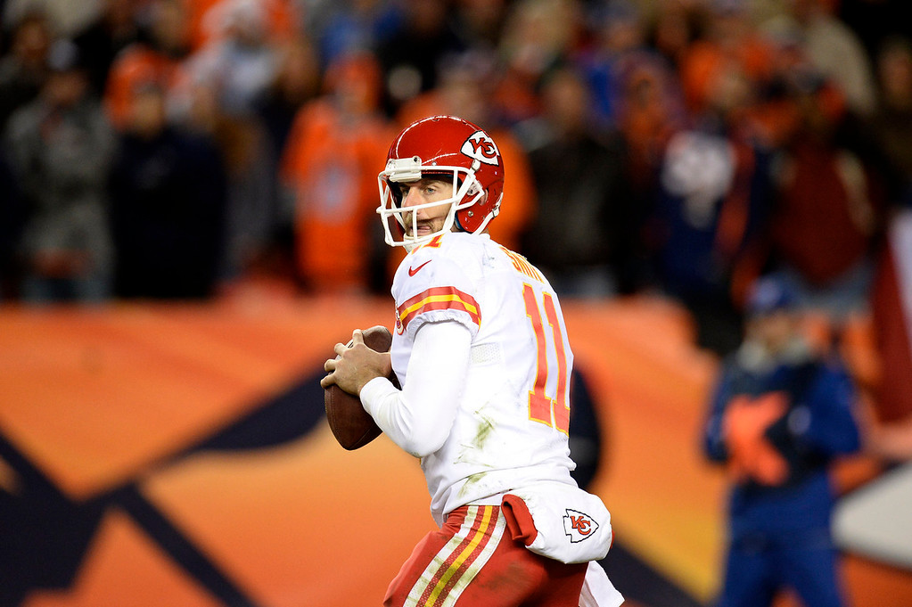 . Kansas City Chiefs quarterback Alex Smith (11) in the third quarter. The Denver Broncos take on the Kansas City Chiefs at Sports Authority Field at Mile High in Denver on November 17, 2013. (Photo by John Leyba/The Denver Post)
