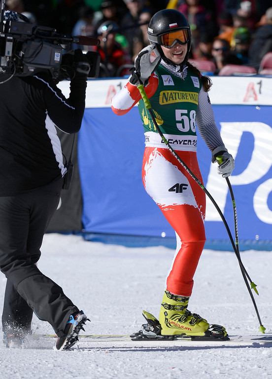 . Karolina Chrapek of Poland reacts in the finish area of the women\'s downhill race at the FIS World Cup Alpine Skiing in Beaver Creek, Colorado, USA, 29 November 2013.  EPA/JOHN G. MABANGLO