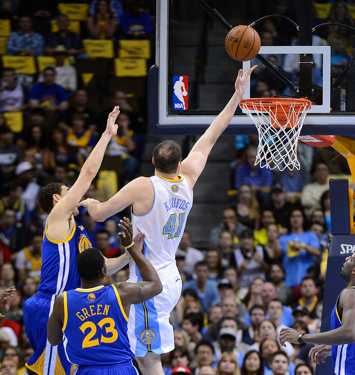 . Denver Nuggets center Kosta Koufos (41) puts up a shot in the second quarter. The Denver Nuggets took on the Golden State Warriors in Game 5 of the Western Conference First Round Series at the Pepsi Center in Denver, Colo. on April 30, 2013. (Photo by AAron Ontiveroz/The Denver Post)
