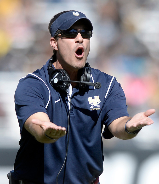 . Charleston Southern head coach Jamey Chadwell argues a call with the referee during a game against the University of Colorado on Saturday, Oct. 19, at Folsom Field in Boulder.  (Jeremy Papasso/Boulder Daily Camera)
