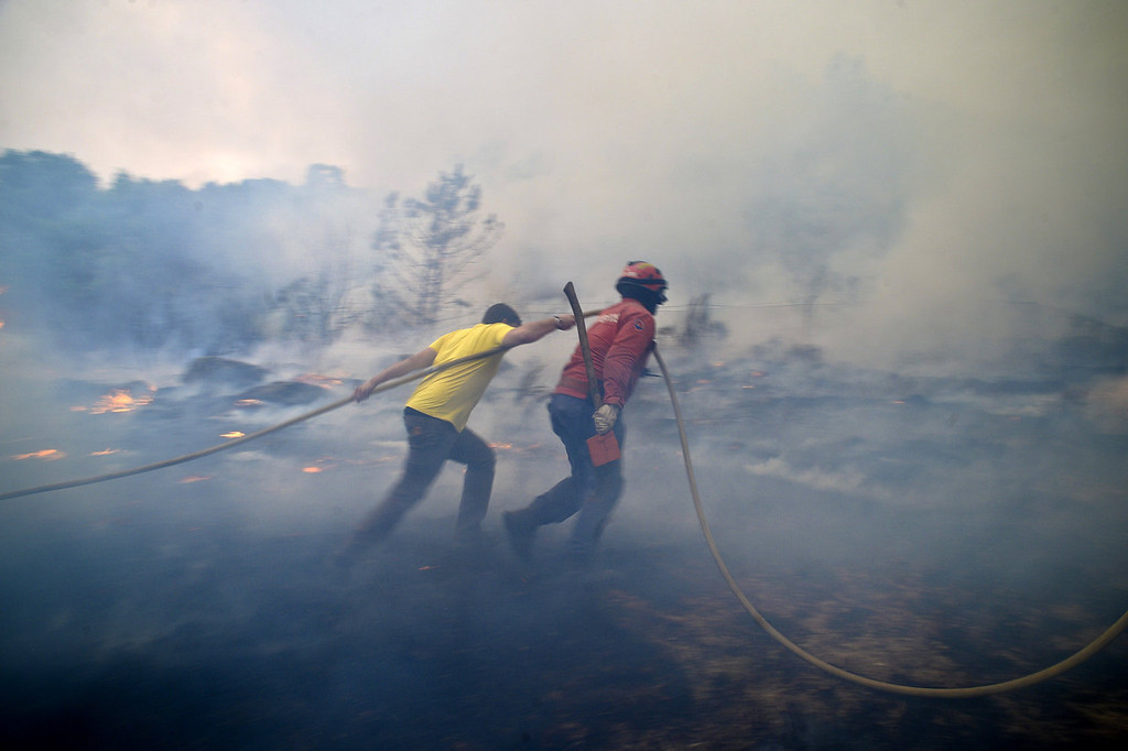 . A local and a firefighter try to putout a wildfire in Caramulo, central Portugal on August 29, 2013. Five Portuguese mountain villages were evacuated overnight as forest fires intensified in the country\'s north and centre, officials said today. As many as 1,400 firefighters were dispatched Thursday to tackle the blaze in the mountains and another raging further north in the national park of Alvao, where 2,000 hectares (4,900 acres) of pine forest have already been destroyed, according to the local mayor.   PATRICIA DE MELO MOREIRA/AFP/Getty Images