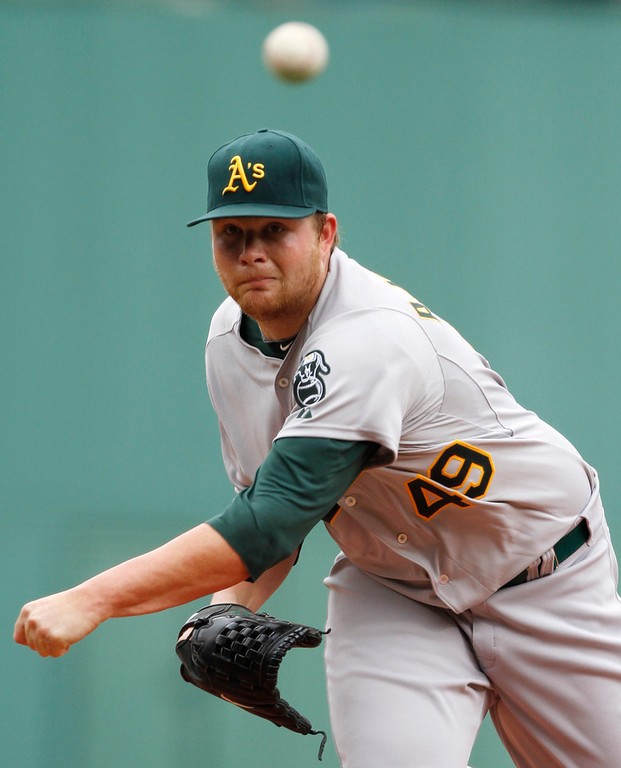 . Oakland Athletics\' Brett Anderson delivers a pitch against the Boston Red Sox during the first inning of a baseball game at Boston\'s Fenway Park, Thursday, June 3, 2010. (AP Photo/Steven Senne)