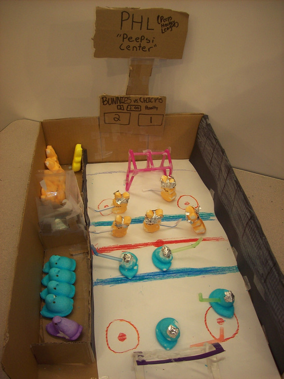 . Entry for the Children\'s Peeps Contest, we are 11, 10, 10, and 12. Melanie Agsam, Caleb Balabat, Ean Borron, Kameron DiPentino