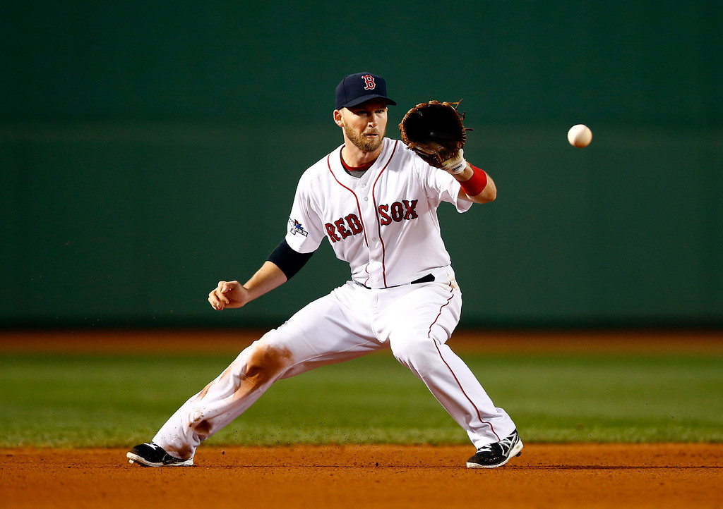 . BOSTON, MA - OCTOBER 05:  Stephen Drew #7 of the Boston Red Sox fields a ball in the sixth inning against the Tampa Bay Rays during Game Two of the American League Division Series at Fenway Park on October 5, 2013 in Boston, Massachusetts.  (Photo by Jared Wickerham/Getty Images)