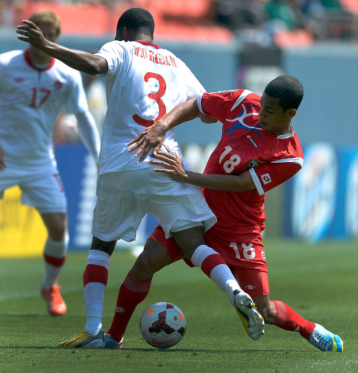 . Jairo Jimenez #18 of Panama pushes Ashtone Morgan #3 of Canada off the ball during the second half of the CONCACAF Gold Cup soccer game July 14, 2013 at Sports Authority Field at Mile High. (Photo By John Leyba/The Denver Post)