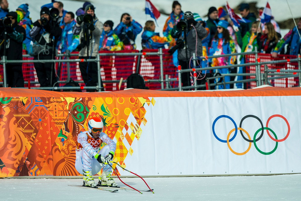 . KRASNAYA POLYANA, RUSSIA  - JANUARY 9: Bode Miller reacts after competing in the Men\'s Downhill race at Rosa Khutor Alpine Center during the 2014 Sochi Olympic Games Sunday February 9, 2014.  Miller finished in eighth place with a time of 2:06.75. (Photo by Chris Detrick/The Salt Lake Tribune)