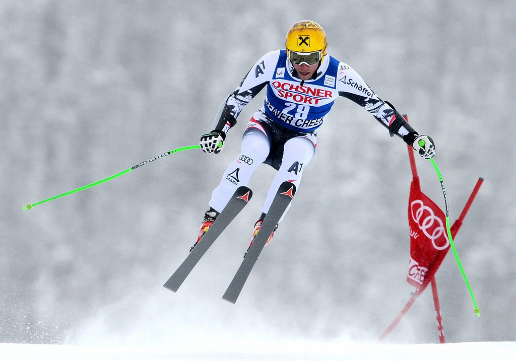 . Max Franz, of Austria, in action during the Men\'s Super-G race at the FIS Alpine Skiing World Cup in Beaver Creek, Colorado, USA, 07 December 2013.  EPA/JUSTIN LANE