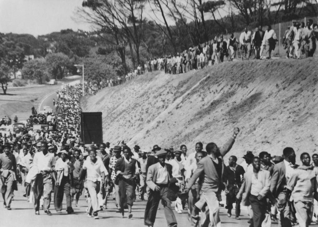 . 30,000 protestors march from Langa into Cape Town in South Africa, to demand the release of prisoners from the police station in Caledon Square, 30th March 1960. The prisoners were arrested for protesting against the segregationist pass laws. (Photo by Keystone/Hulton Archive/Getty Images)