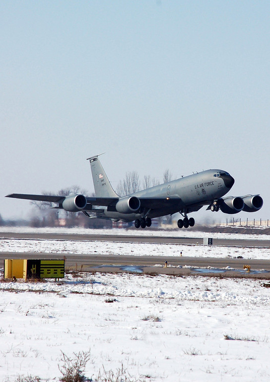 . In this Feb. 6, 2009 image provided by the U.S. Air Force a KC-135 Stratotanker takes off from Manas Air Base, Kyrgyzstan, for a refueling mission over Afghanistan. An American KC-135 military refueling plane carrying three crew members crashed Friday, May 3, 2013, in the rugged mountains of Kyrgyzstan, the Central Asian nation where the U.S. operates an air base key to the war in Afghanistan. (AP Photo/U.S. Air Force, Senior Master Sgt. Julie Layton)