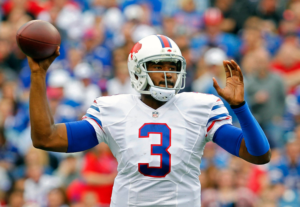 . Buffalo Bills quarterback EJ Manuel passes against the Carolina Panthers in the third quarter of an NFL football game Sunday, Sept. 15, 2013, in Orchard Park, N.Y. (AP Photo/Bill Wippert)