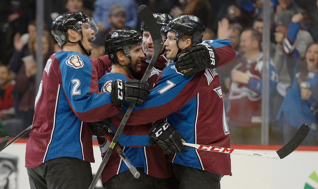 . Colorado Avalanche center John Mitchell (7) celebrates his goal in the first period against the Chicago Blackhawks November 19, 2013 at Pepsi Center. (Photo by John Leyba/The Denver Post)