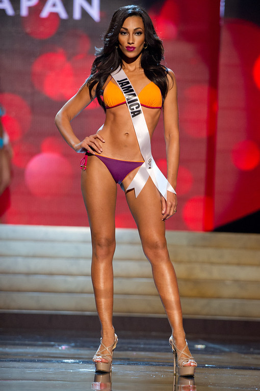. Miss Jamaica 2012, Chantal Zaky, competes during the Swimsuit Competition of the 2012 Miss Universe Presentation Show on Thursday, Dec. 13, 2012 at PH Live in Las Vegas. The 89 Miss Universe Contestants will compete for the Diamond Nexus Crown on December 19.  (AP Photo/Miss Universe Organization L.P., LLLP)