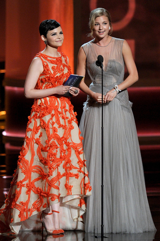 . Actresses Ginnifer Goodwin and Emily VanCamp speak onstage during the 64th Annual Primetime Emmy Awards at Nokia Theatre L.A. Live on September 23, 2012 in Los Angeles, California.  (Photo by Kevin Winter/Getty Images)