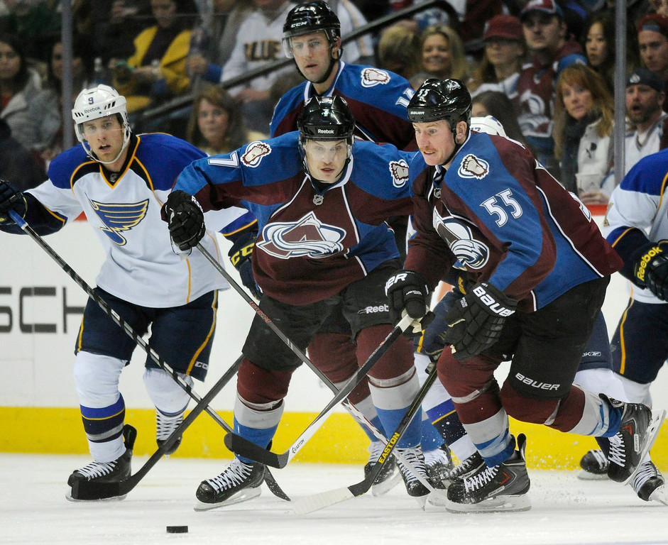 . Colorado wing Cody McLeod advanced the puck in the third period.   Photo By Karl Gehring/The Denver Post