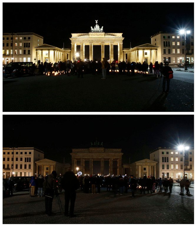 . A combination picture shows the Brandenburger Tor gate during Earth Hour in Berlin March 23, 2013. Earth Hour, when everyone around the world is asked to turn off lights for an hour from 8.30 p.m. local time, is meant as a show of support for tougher action to confront climate change.  REUTERS/Tobias Schwarz