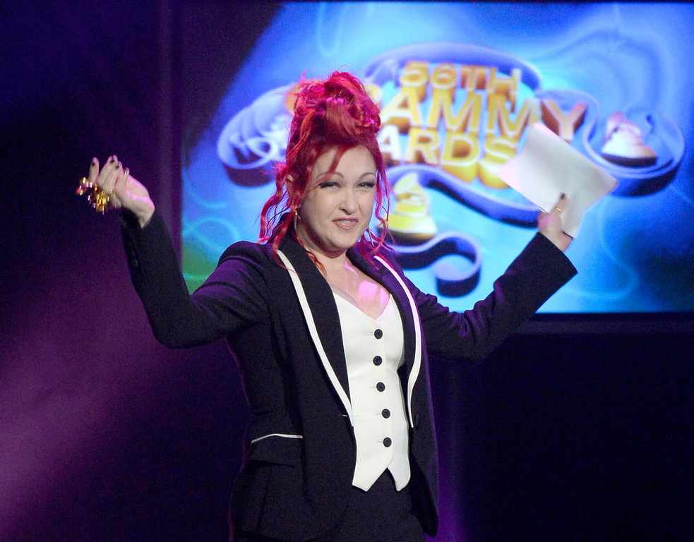 . Host Cyndi Lauper speaks onstage during the 56th GRAMMY Awards Pre-Telecast Show at Nokia Theatre L.A. Live on January 26, 2014 in Los Angeles, California.  (Photo by Kevork Djansezian/Getty Images)