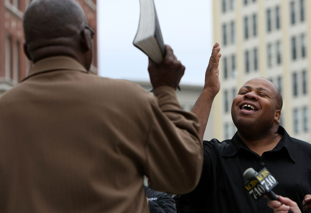 . OAKLAND, CA - JUNE 16:  Roosevelt Mosby (R), a gay man, argues with an opponent of same-sex marriage outside of Oakland City Hall June 16, 2008 in Oakland, California. Same-sex marriages will become legal today at 5 p.m.   (Photo by Justin Sullivan/Getty Images)