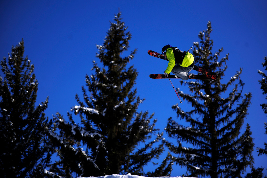 . ASPEN, CO - January 27: Dara Howell takes off from the final jump during the women\'s Ski Slopestyle final at Winter X Games Aspen 2013 at Buttermilk Mountain on Jan. 27, 2013, in Aspen, Colorado. Howell finished with the bronze medal. (Photo by Daniel Petty/The Denver Post)