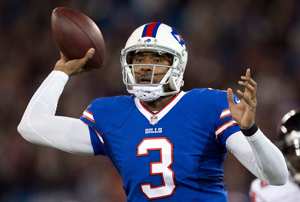 . Buffalo Bills quarterback EJ Manuel launches a pass against the Atlanta Falcons during first half NFL football action in Toronto on Sunday Dec. 1, 2013. (AP Photo/The Canadian Press, Frank Gunn)