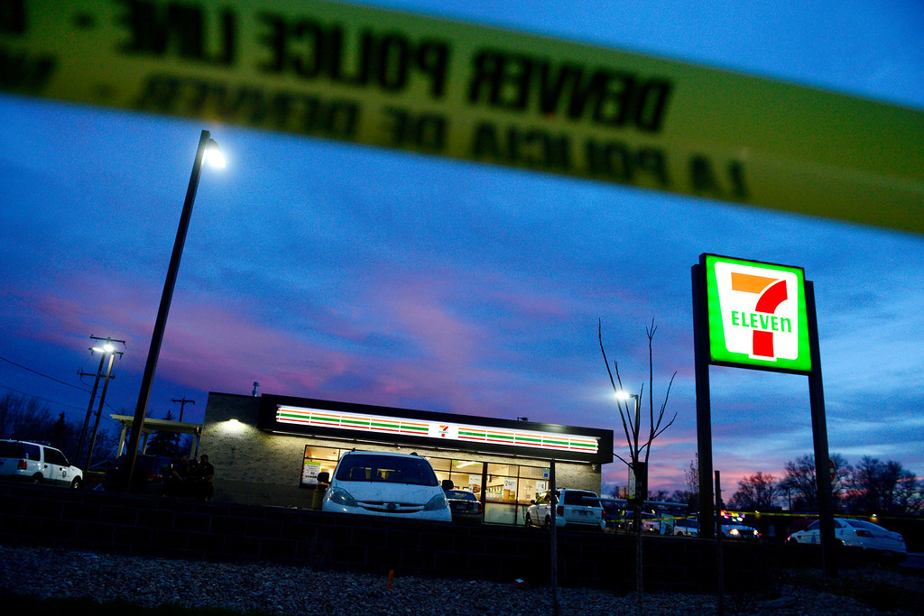 . DENVER, CO - APRIL 29: The 7-Eleven near 6th and Federal Boulevard where an 8-year-old boy was taken after being shot nearby. The child who was shot was reported to be in critical condition. (Photo by AAron Ontiveroz/The Denver Post)