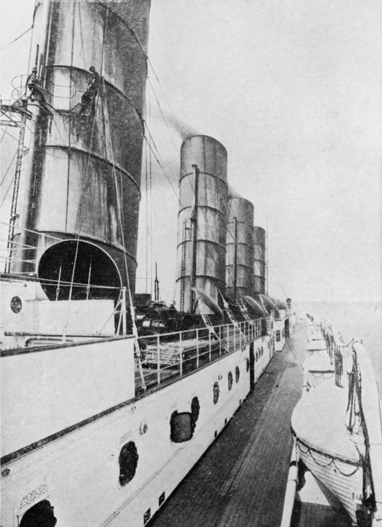 . A view on the deck of the Cunard liner Lusitania, circa 1915.   Original Publication: The Graphic, pub. 15th May 1915. (Photo by The Graphic/Hulton Archive/Getty Images)