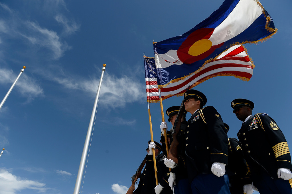 . Color guard stand at attention during the Colorado Freedom Memorial dedication May 26, 2013 in Aurora.   (Photo By John Leyba/The Denver Post)