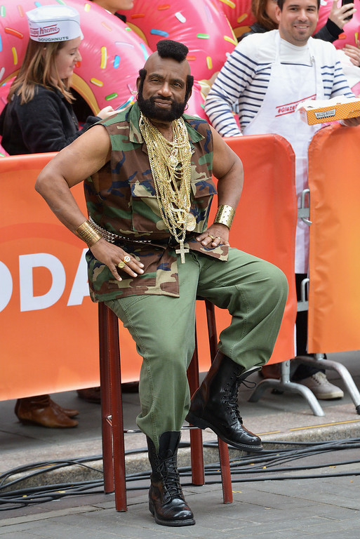 """. Al Roke, Dressed as Mr T, attends NBC\'s \""""Today\"""" Halloween 2013 in Rockefeller Plaza on October 31, 2013 in New York City.  (Photo by Slaven Vlasic/Getty Images)"""