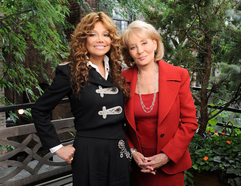 """. In this photo released by ABC, La Toya Jackson, left, poses with Barbara Walters during the taping of an interview where she discusses the death of her brother, pop icon Michael Jackson, for ABC News\'  \""""20/20\"""", airing Friday, Sept. 11, 2009, at  10:00 p.m. EDT.  (AP Photo/ABC, Donna Svennevik)"""