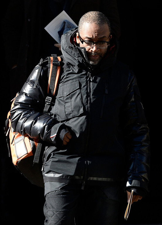 . US director Spike Lee leaves the Funeral Mass for US Actor Phillip Seymour Hoffman at St Ignatius Church in New York, New York, USA 07 February 2014. Hoffman, 46, died 02 February from a suspected drug overdose.  EPA/ANDREW GOMBERT