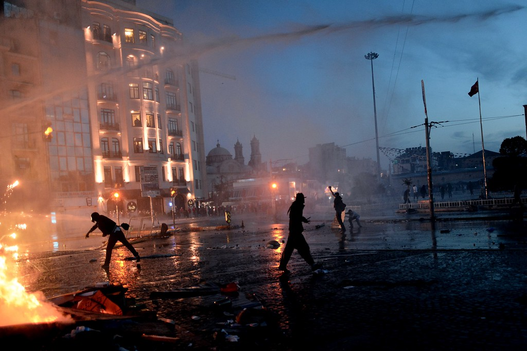 . Protesters clash with riot police at Taksim square in Istanbul on June 11, 2013.   AFP PHOTO / ARIS  MESSINIS/AFP/Getty Images
