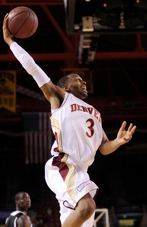 . DENVER, CO. - MARCH 2: Denver guard Jalen Love (3) put up a shot in the first half. The University of Denver men\'s basketball team defeated New Mexico State 66-60 Saturday evening, March 2, 2013 at Magness Arena. (Photo By Karl Gehring/The Denver Post)